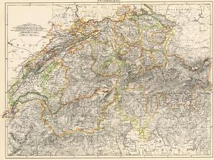Map of Switzerland, 1870s