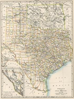 Map of Texas and Indian Territory (Now Oklahoma), 1870s