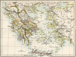 Map of the Aegean Sea in the Time of Ancient Greece