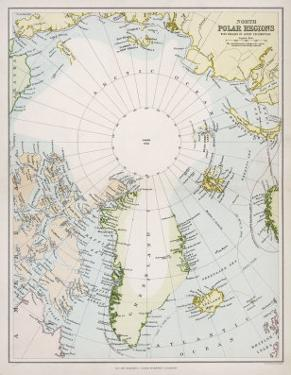 Map of the Arctic Circle with Details of Explorations