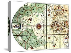 Map of the Atlantic with the New World Coast, Drawn in 1500 by Juan de la Cosa, Columbus' Pilot