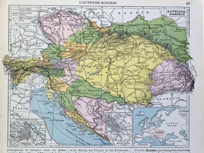 Map of the Austro-Hungarian Empire, Illustration from a French geography School Textbook, 1905