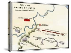 Map of the Battle of Cannae, in Which Hannibal Defeated the Romans During the Second Punic War