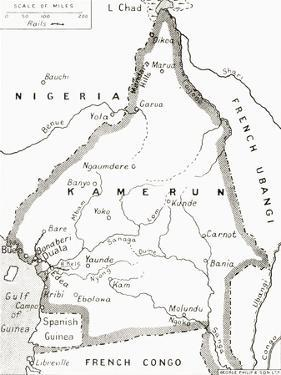 Map of the Cameroons - Scene of One of Britain's Campaigns During World War I