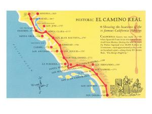 Map of the Camino Real, California Missions
