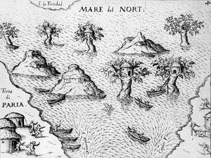 Map of the Coast of Guyana, Illustration from 'Regni Guianae'