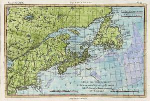 Map of the East Coast of North America from New York to Newfoundland