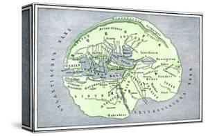 Map of the Flat Earth According to Herodotus, Ancient Greek Historian