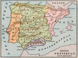 Map of the Iberian Peninsula in the 1400s