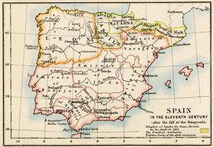 Map of the Iberian Peninsula Under the Moors, 11th Century