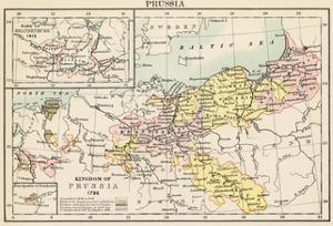 Map of the Kingdom of Prussia in 1786, and Brandenburg in 1415