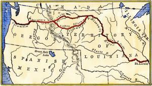 Map of the Lewis and Clark Route across Louisiana Territory, c.1804-1806
