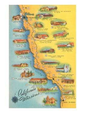 Map of the Missions, California