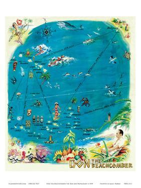 Map of the Polynesian Islands, Don the Beachcomber Tiki Bar and Restaurant