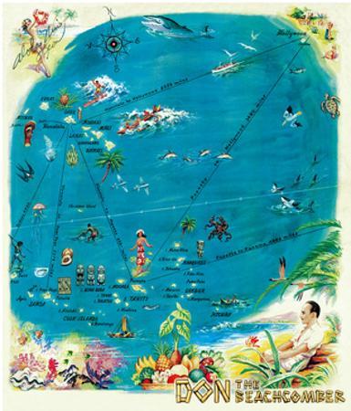 Map of the Polynesian Islands, Don the Beachcomber Tiki Bar and Restaurant