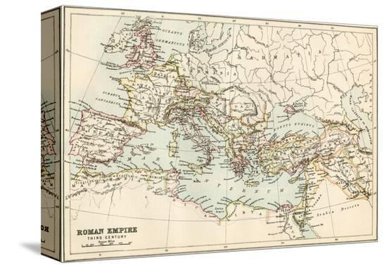 Map of the Roman Empire in the Third Century--Stretched Canvas Print