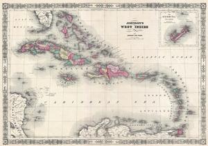 Map of the West Indies and Caribbean by A.J. Johnson