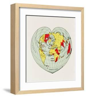 Map of the World Distorted into the Shape of a Heart