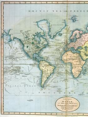 """Map of the World: Western Half of """"A New Chart of the World, on Mercator's Projection, Exhibiting…"""