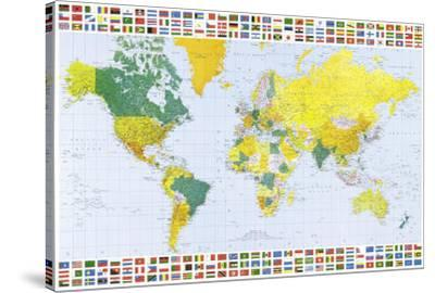 Map of the World (With Flags) Art Poster Print