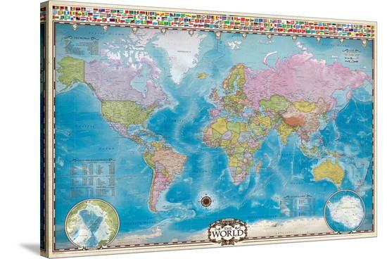 Map of the World with Flags--Stretched Canvas Print