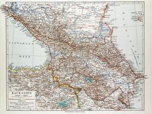 Map of Transcaucasia Georgia Azerbaijan Armenia 1899