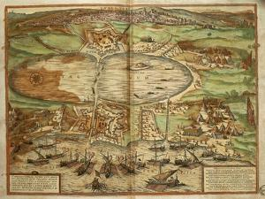 Map of Tunis, Tunisia, from Civitates Orbis Terrarum by Georg Braun and Franz Hogenberg