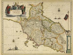 Map of Tuscany Region, from Atlas by Willem Janszoon Blaeu, 1663