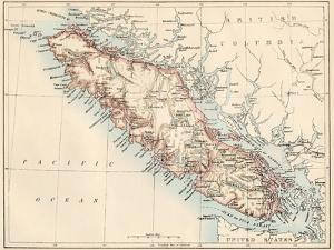 Map of Vancouver Island, British Columbia, Canada, 1870s