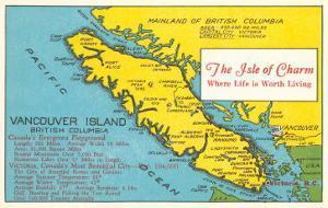 Map of Vancouver Island, British Columbia