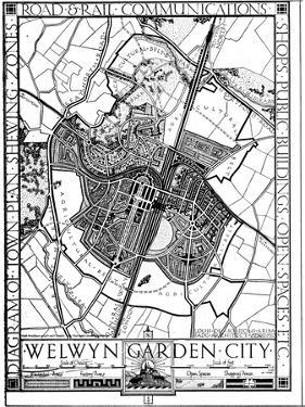 Map of Welwyn Garden City, Hertfordshire, England, 1926
