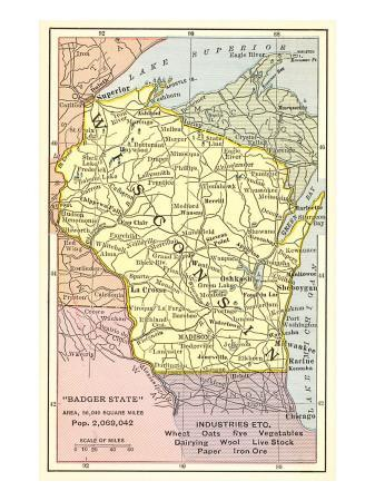 Maps of Wisconsin Posters for sale at AllPosterscom