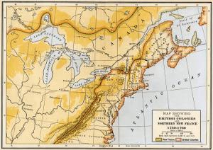 Map Showing British Colonies and Northern New France during the French and Indian War, c.1750