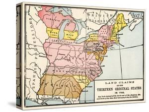 Map Showing Land Claims of the 13 Original States in 1783