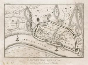 Map Showing Roman London (Londinium) with Its Grid of Straight Roads