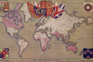 Map Showing the British Empire with Flags and Coats of Arms