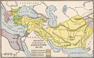 Map Showing the Divisions of the Empire of Alexander the Great After His Death