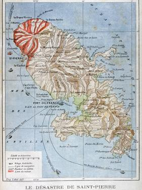 Map Showing the Eruption of Mount Pelee, Martinique, 1902