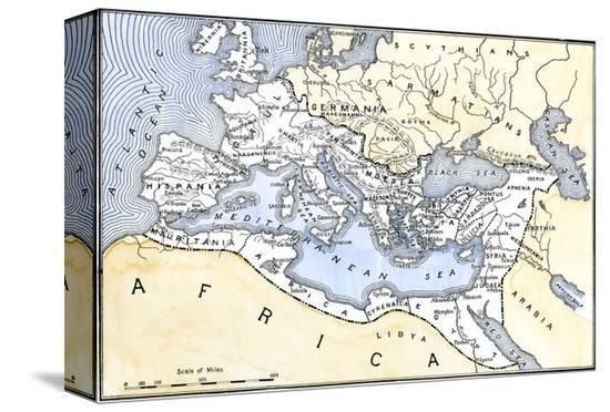 Map Showing the Extent of the Roman Empire--Stretched Canvas Print