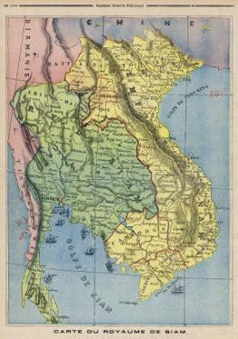 Map Showing the Kingdom of Siam Now Thailand