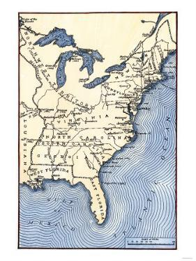 Map Showing the Thirteen Colonies Which Joined Together as the Original Thirteen States in 1776