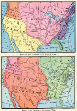 Maps of North American Colonies Before and after the French and Indian War, c.1700