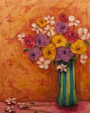 Bouquet in Striped Vase by Marabeth Quin
