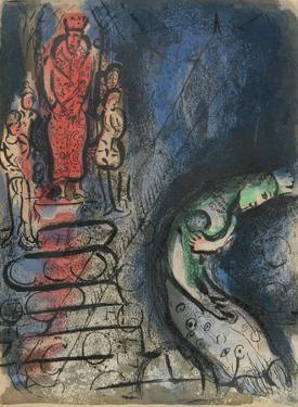 "Ahaseurus banishes Vashti from ""Drawings for the Bible"" by Marc Chagall"