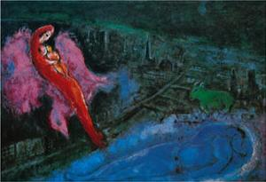 Bridge over the Seine by Marc Chagall