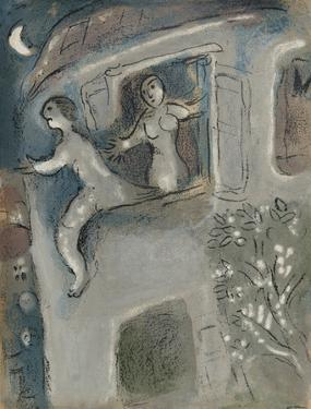 "David saved by Michal from ""Drawings for the Bible"" by Marc Chagall"