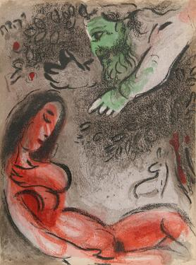 "God rebukes Eve from ""Drawings for the Bible"" by Marc Chagall"