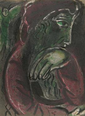 "Job disconsolate from ""Drawings for the Bible"" by Marc Chagall"