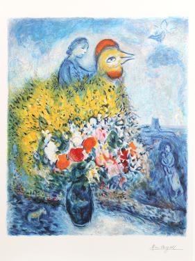 Le coq avec le bouquet jaune by Marc Chagall