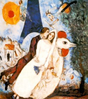 Les Fiancees de la Tour Eiffel by Marc Chagall